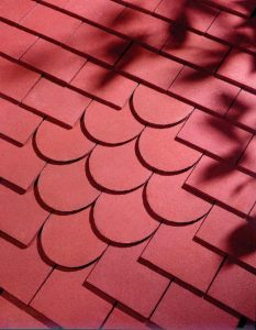 close up of a roof made from dreadnought red clay tiles