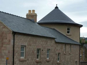 hand cut forna slate installed on a conical roof