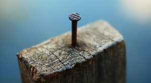 A nail in a roofing batten