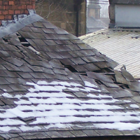natural slate blow of a small roof
