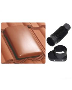 Klober 20K Universal Roof Tile Vent and Cap + Soil Mechanical Adaptor and Flexi-Pipe