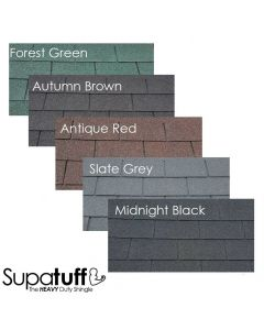 Supatuff Roof Felt Shingles. 4 Colours available: Forest green Autumn brown, Slate grey and Midnight black