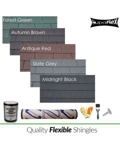 Supaflex square butt shingles, green, brown, red, grey and black